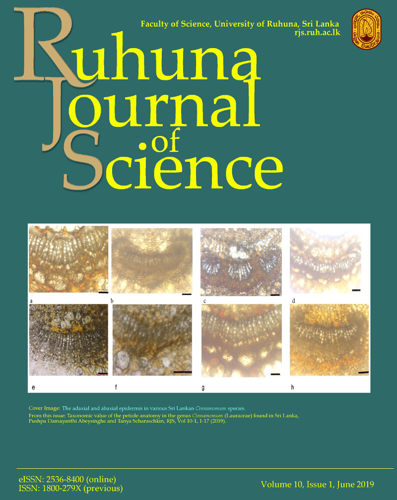 Ruhuna Journal of Science Vol 10-1 Cover Image