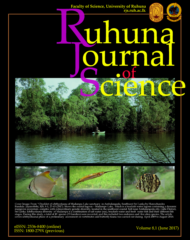 Ruhuna Journal of Science Vol 8-1(2017)