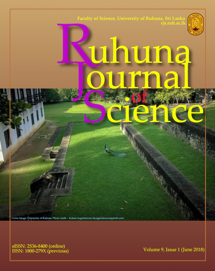 Ruhuna Journal of Science vol 9, Issue 1, June 2018
